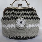 Crochet Knitted Grey/Black Handbag