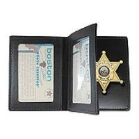 Boston Leather 122 Book Style Badge Case with Two ID Windows