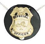 Boston Leather 5841 Round Neck Chain Badge Holder