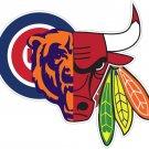2 Inch Chicago Mashup Superfan Vinyl Decal Chicago Bears Cubs Bulls Blackhawks 00002