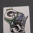 2 Inch Vinyl Decal Wisconsin Badgers Green Bay Packers Milwaukee Bucks Brewers