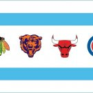 2 Inch Chicago Sports Flag Vinyl Decal Chicago Bears Cubs Bulls Blackhawks 00010