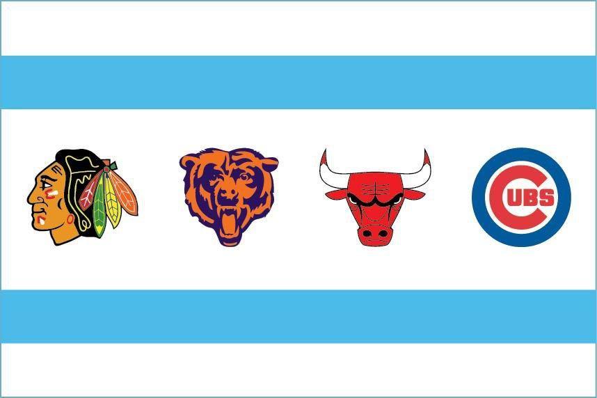 5 Inch Chicago Sports Flag Vinyl Decal Chicago Bears Cubs Bulls Blackhawks 00010