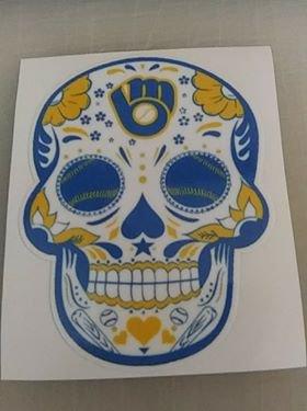 2 Inch Milwaukee Brewers Retro Day Of The Dead Sugar Skull Vinyl Decal Cellphone Hardhat Sticker