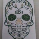 4 Inch Milwaukee Bucks Day Of The Dead Sugar Skull Vinyl Decal Laptop Cellphone Sticker