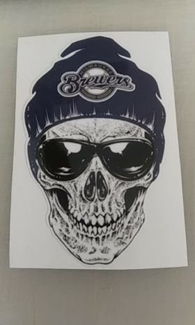 3 Inch Milwaukee Brewers Skull Vinyl Decal Laptop Cellphone Sticker