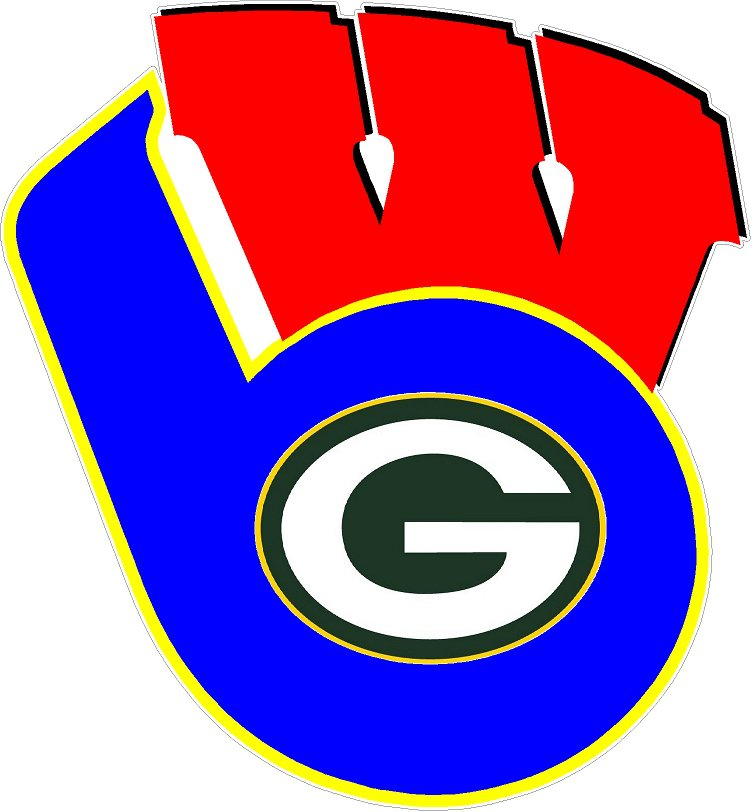 4 Inch Wisconsin Badgers Mashup Superfan Vinyl Decal Milwaukee Brewers Green Bay Packers 00005