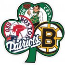 4 Inch New England Patriots Boston Red Sox Celtics Bruins Superfan Clover Decal Sticker 00002