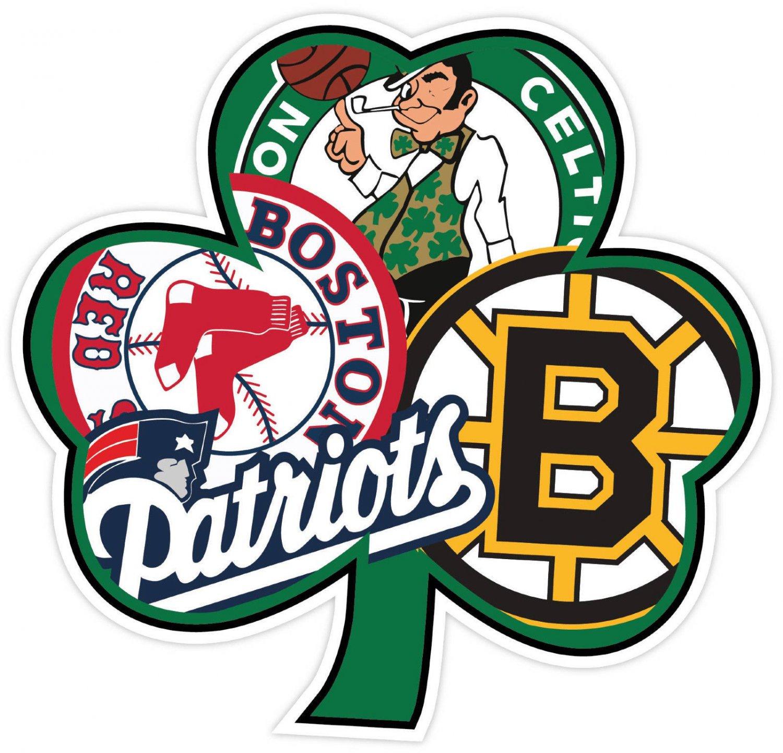 5 Inch New England Patriots Boston Red Sox Celtics Bruins Superfan Clover Decal Sticker 00002
