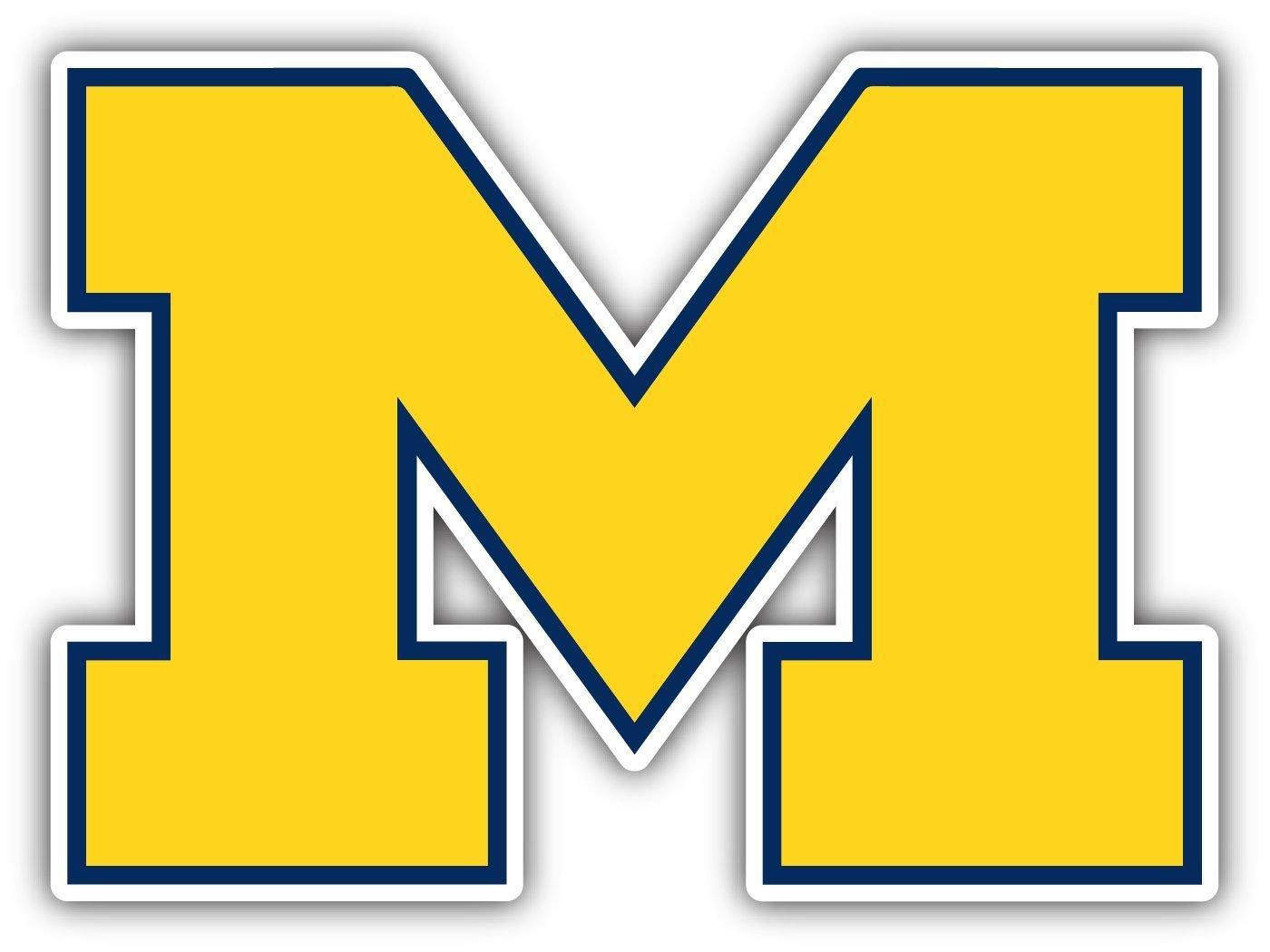 4 Inch Full Color Michigan Wolverines Yellow M Logo Vinyl Decal Yeti Laptop Car Window Sticker 00015