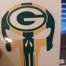 2 Inch Full Color Green Bay Packers Punisher Vinyl Cellphone Decal Hardhat Sticker