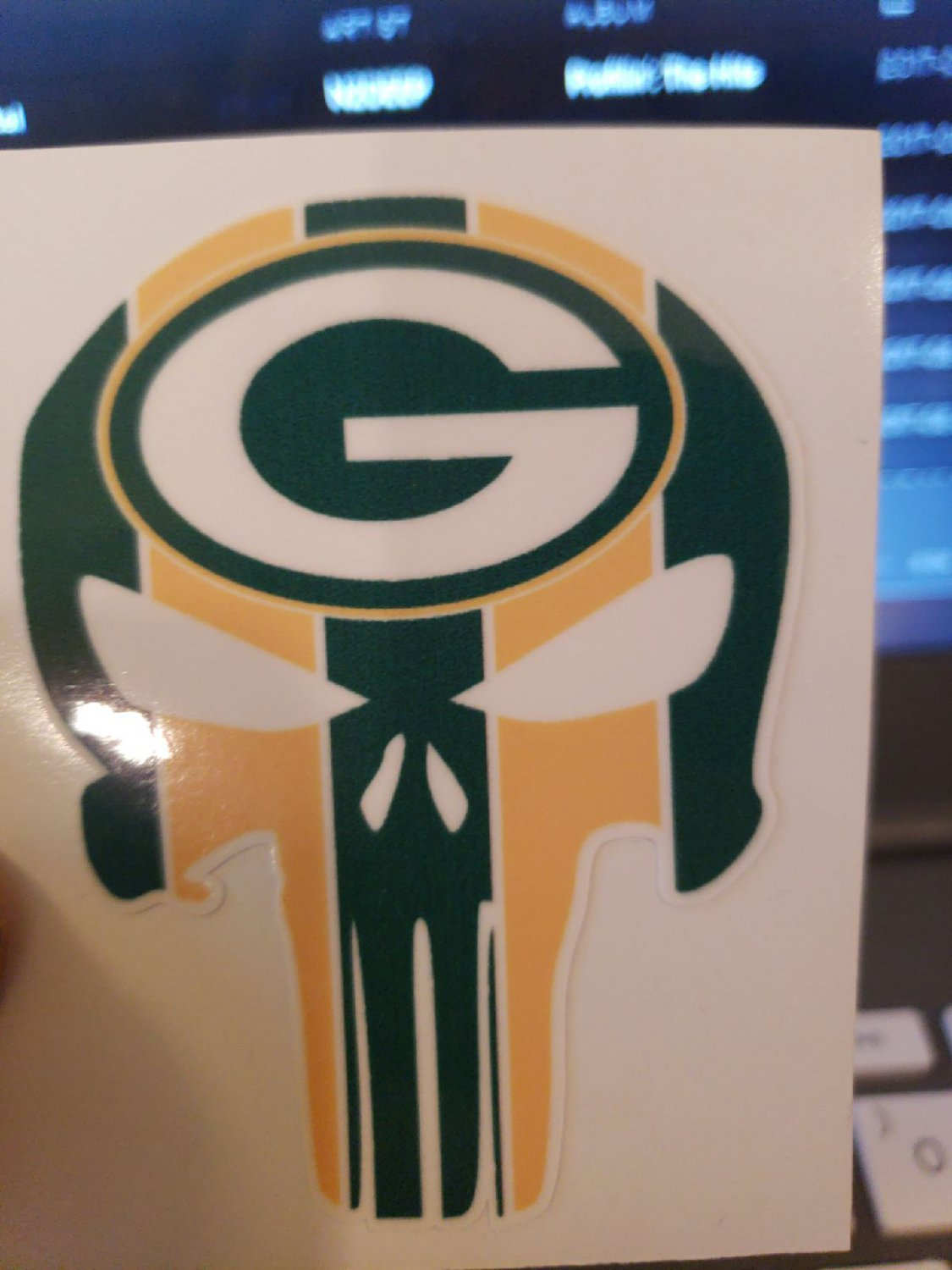3 Inch Full Color Green Bay Packers Punisher Vinyl Yeti Decal Laptop Sticker