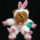 Walmart Plush Teddy Bear in Easter Bunny Rabbit Costume Stuffed Animal 12""