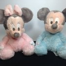 Mickey Minnie Mouse Disney Plush Pastel Pink Blue Chimes Baby Toy Stuffed Animal