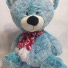 "Animal Adventure Teddy Bear Plush 17"" Stuffed Animal Aqua Blue Red Scarf 2016"
