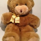 Hallmark Teddy Bear Plush 1990 Brown Tan Stuffed Animal Yellow Bow 15""