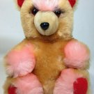 "Vintage Rose Pink Teddy Bear Plush Red Brown Stuffed Animal 11"" Grizzly Soft Toy"