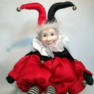 Court Jester Porcelain Posable Red Clown Doll Hand Painted Face Tambourine 15""