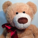 "HugFun Teddy Bear Plush Floppy Tan Brown Stuffed Animal 22"" Red Bow Ribbon"