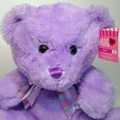 Hugfun Teddy Bear Plush Stuffed Toy Lilac Purple Rainbow Bow Hugs Kisses XO NWT