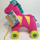 "Eden Pink Horse Pony Pull Toy Plush Circus Parade Stuffed Animal 7"" TAG"