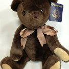 Passport Plush Teddy Bear Chocolate Brown Soft Stuffed Jointed Animal TAG 15""