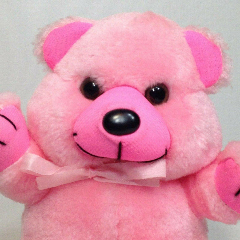 "Plush Pink Teddy Bear Vintage 1982 A&B Novelty Stuffed Animal Ribbon Bow 7"""