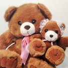 Plush Mother & Baby Teddy Bears Stuffed Animals Kids America Corp Bonnet & Bow