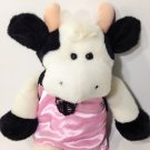 Plush Cow MOO Sounds Black White Stuffed Animal Toy in Pink Woman's Lingerie 15""