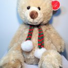 "Animal Adventure Teddy Bear Noel RARE Plush Brown Stuffed Toy Jumbo 21"" Scarf"