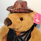 "Russ Berrie Teddy Bear Plush Peanut Butter Stuffed Animal 12"" Woven Hat & Vest"