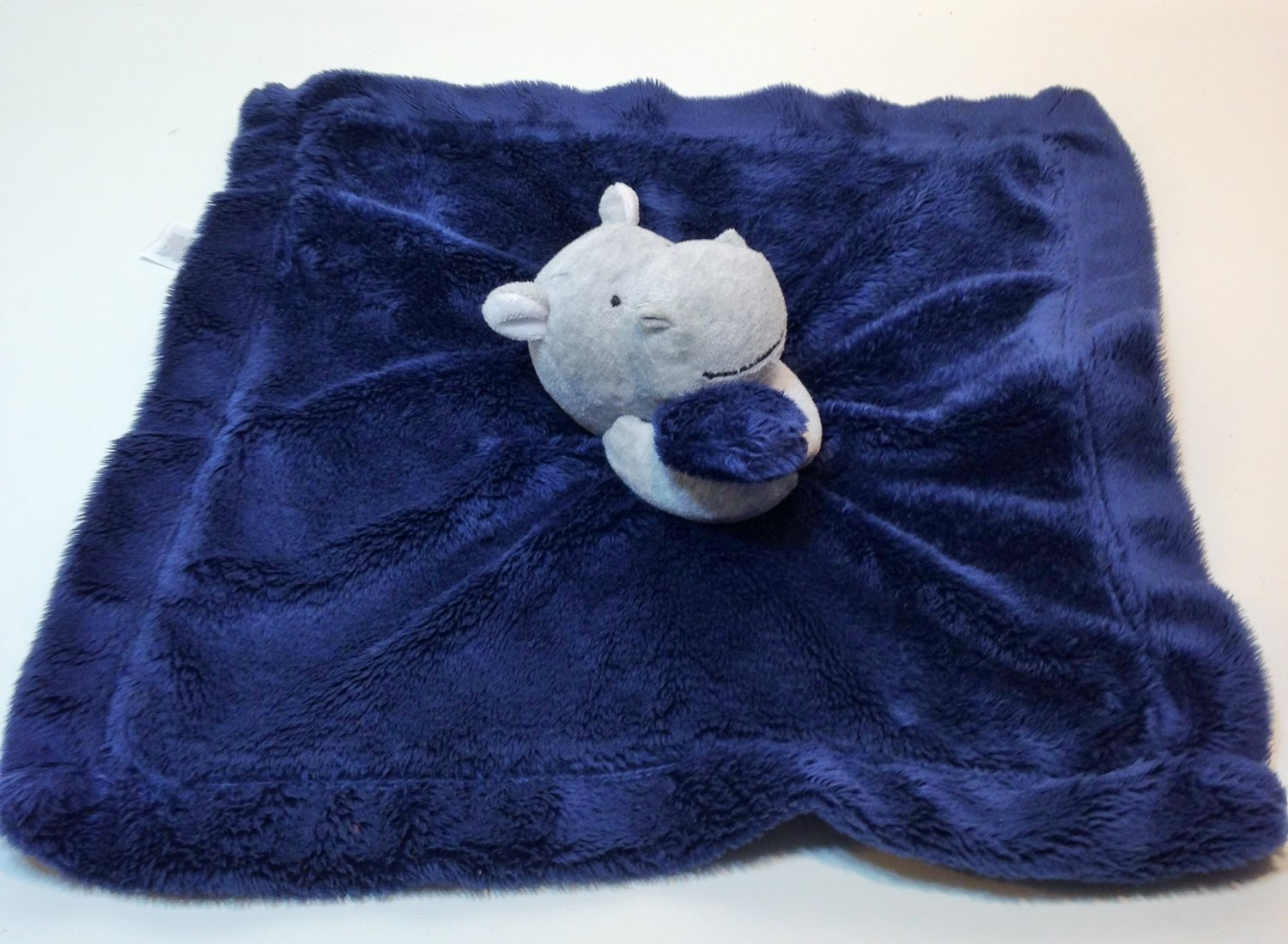 Carters Blue Grey Hippo Baby Blanket Soft Plush Satin Rattle Security Lovey