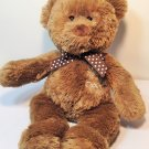 Carters My First Bear Plush Brown Teddy White Polka Dots Bow Lovey 12""