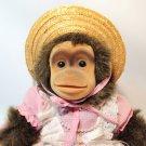 Hosung Vintage Monkey Puppet Baby Chimp Chimpanzee Squeaker Pink Dress Bonnet