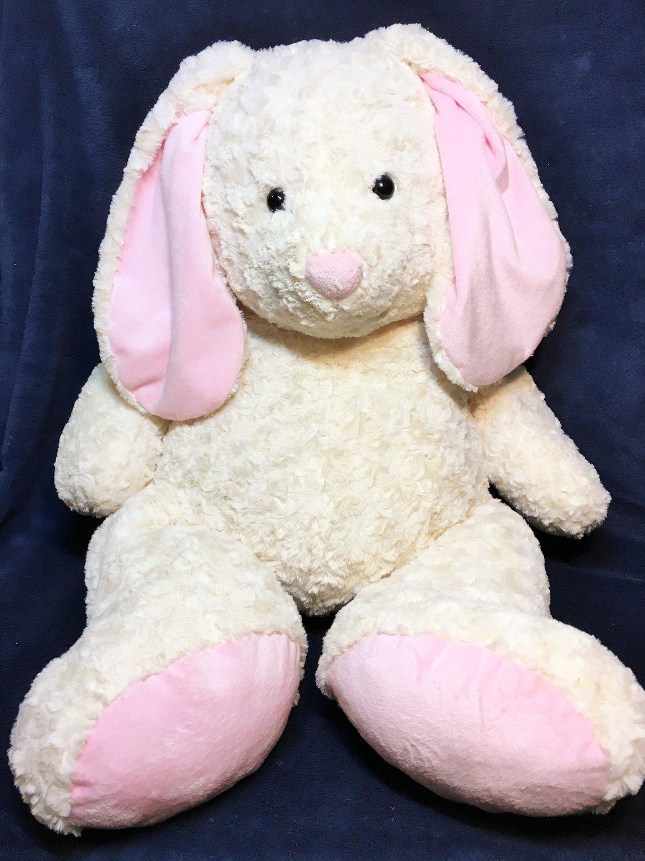 Toys R Us RARE Bunny Rabbit Plush GIANT White Pink JUMBO Stuffed Animal Lop Ears