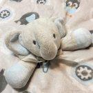 "Blankets & Beyond Elephant Owl Baby Security Blanket Blue Grey White Lovey 14"""