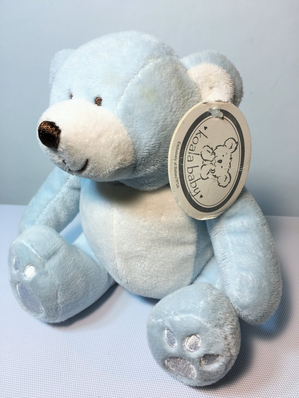 "Koala Baby Blue White Teddy Bear Plush Soft Toy Sewn Eyes Lovey 7"""