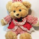 "Dan Dee Teddy Bear RARE Plush Tan Stuffed Animal Red White Striped Dress 18"""