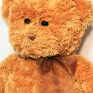 "Ganz Teddy Bear Plush RARE Brown Bean Bag Stuffed Animal Toy Large 17"" Ribbon"