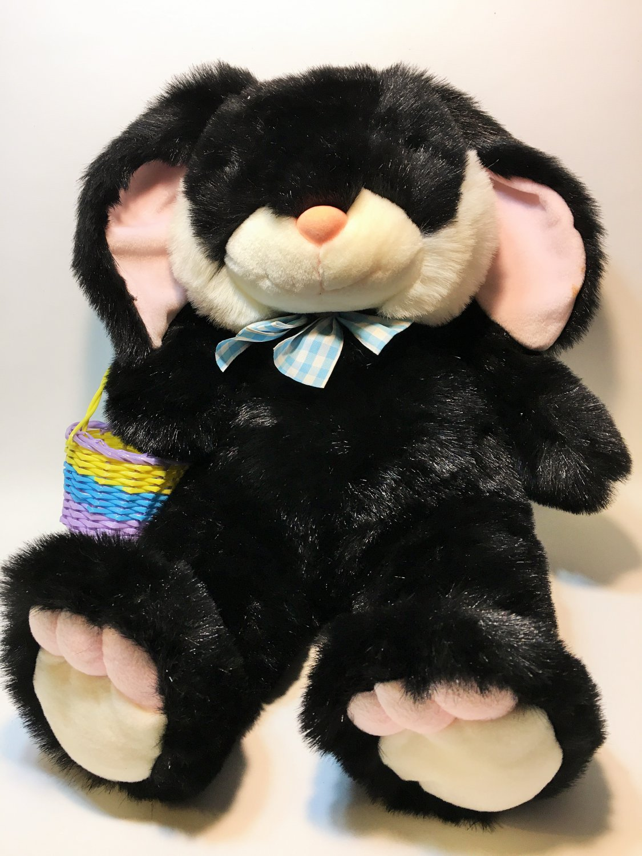 JC Penney Bunny Rabbit RARE Black White Pink BIG Plush Toy LARGE Stuffed Animal