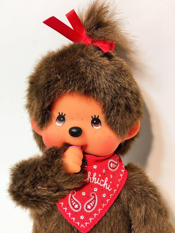 """Monchhichi Girl Red Bandana Bib & Bow Monchichi Plush Brown Monkey Doll Toy 8"""""""