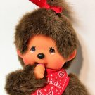 Monchhichi Girl Red Bandana Bib & Bow Monchichi Plush Brown Monkey Doll Toy 8""