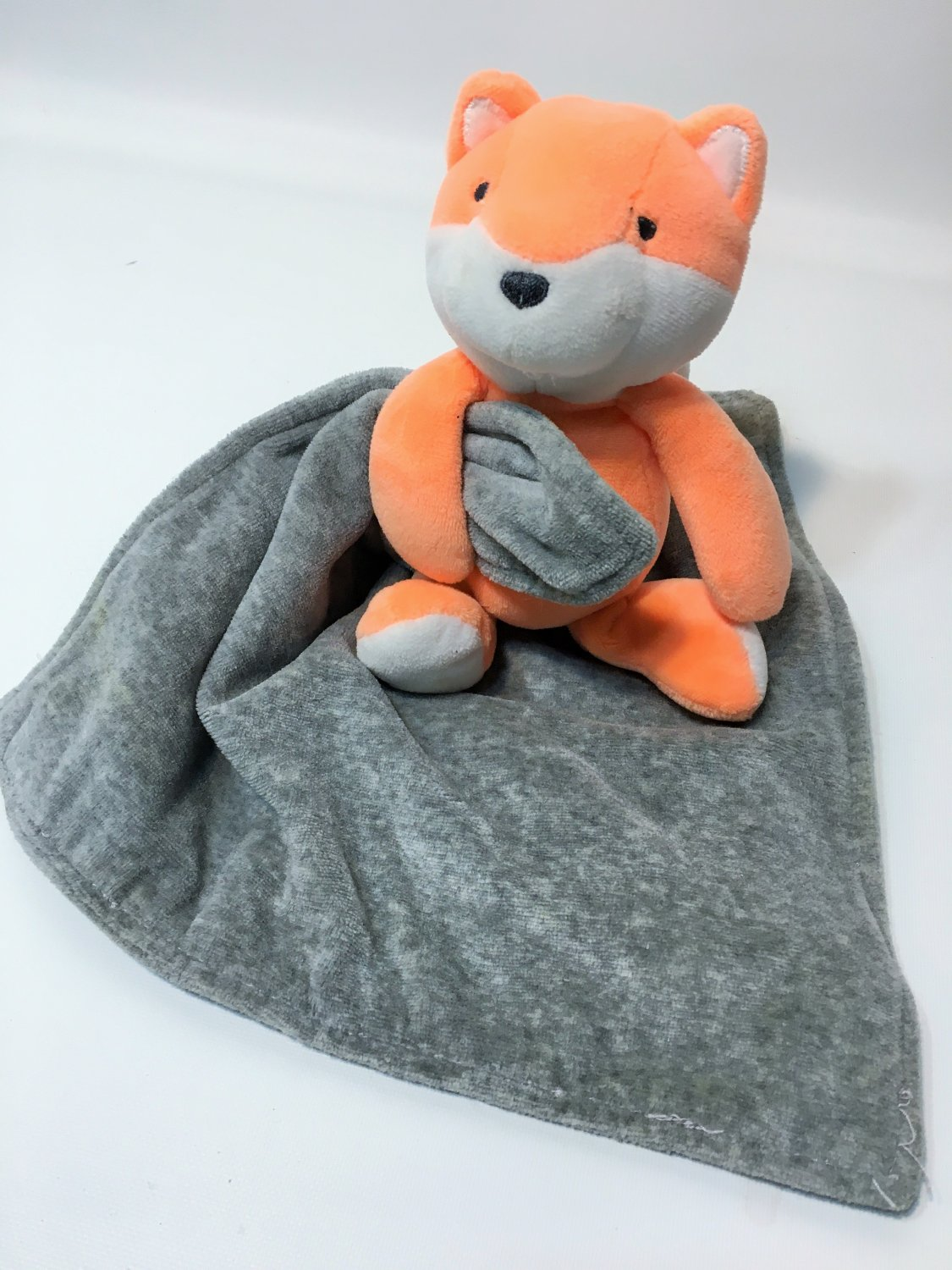 Carters Orange White Plush Fox with Gray Security Blanket Baby Lovey Rattle