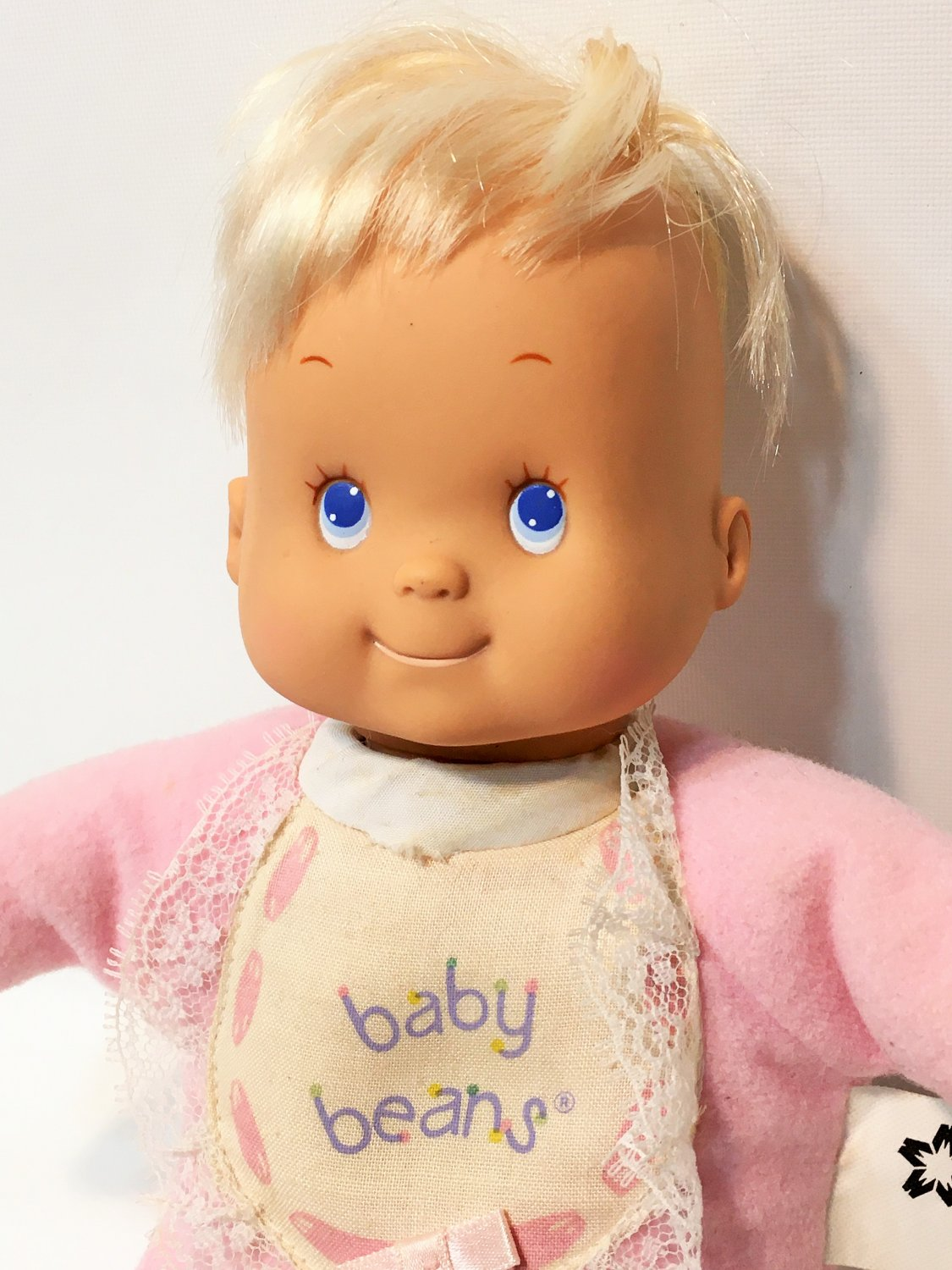 """Baby Beans RARE Girl Doll Pink Jammies & Bows Vintage Toy Meritus No.1701 - 10"""""""
