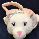 Russ White Plush Bunny Rabbit RARE Easter Basket Soft Stuffed Tote Pink Stripes