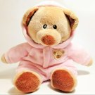Ty Pluffies BABY Teddy Bear Non-Removable Pink Hoodie PJ's Pluffy 2015 - 9""