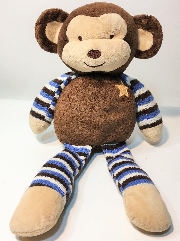"Cocalo Baby Monkey Mania Plush Brown Blue Stripes Star Stuffed Animal Lovey 16"""