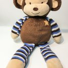 Cocalo Baby Monkey Mania Plush Brown Blue Stripes Star Stuffed Animal Lovey 16""