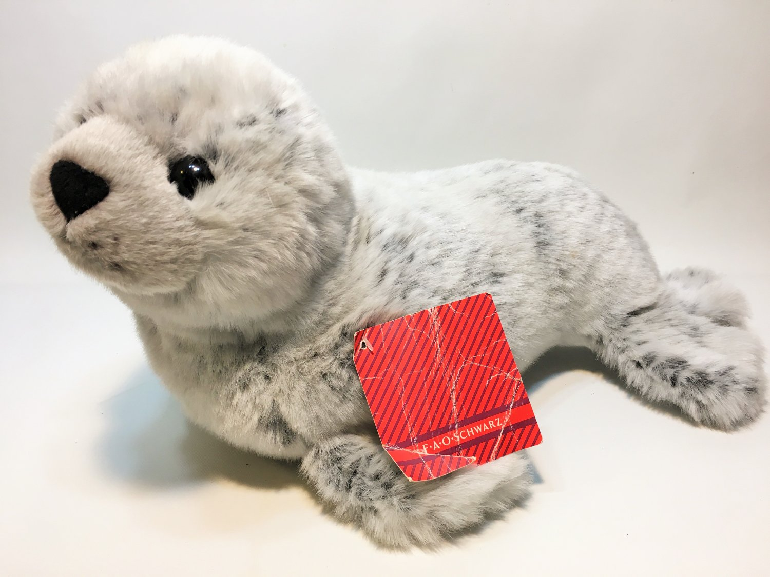 "FAO Schwarz Harbour Seal Plush RARE Realistic Gray Stuffed Animal HTF 16"" TAG"