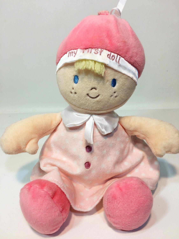 Nat & Jules Demdaco My First Doll Pink Baby Plush Polka Dot Dress Blonde Girl